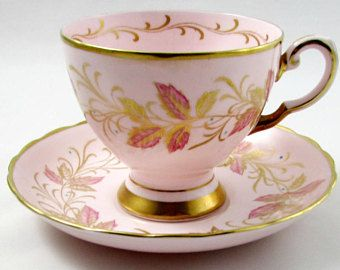 Coalport Pink Tea Cup and Saucer with Leaves and Gold Trim, Vintage Tea Cup, Bone China