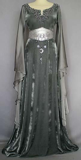 Gypsy Moon's Enchanted Chronicles | This silvery gown, which features a mithral belt, is of Moon Elf construct and design