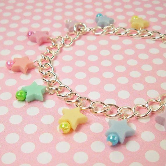 Kawaii Fairy Kei Lolita Star Chain Bracelet Pastel Light Multicolor Iridescent Beads