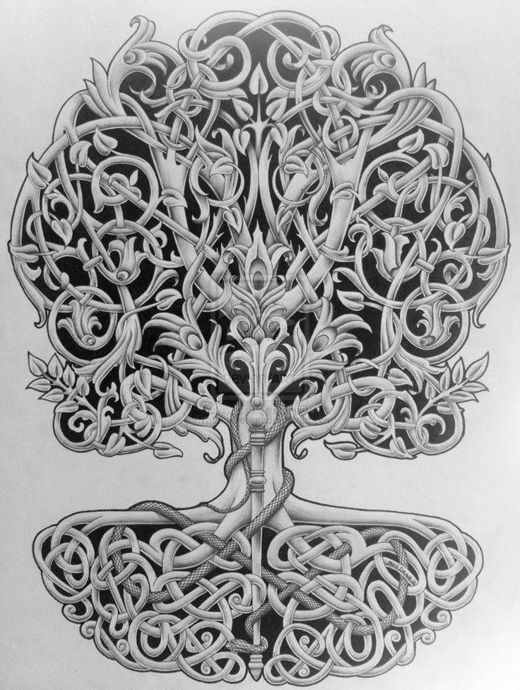Tree Of Life With Rod And Snake By Tattoo Design On