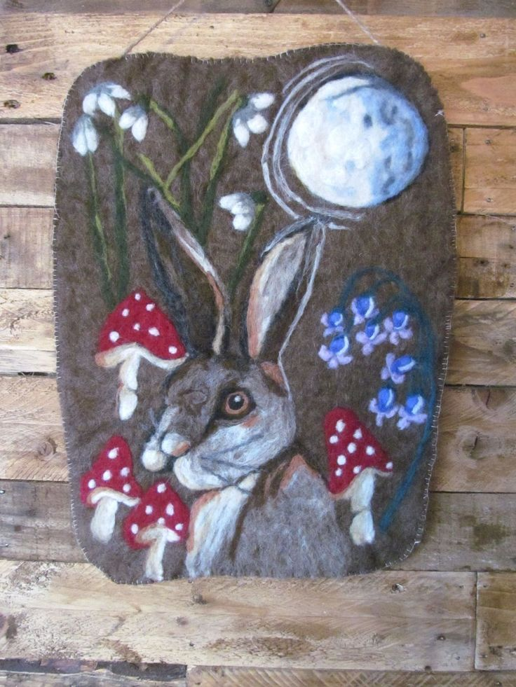 """Handmade Needle Felted """"February Hare"""" wall hanging. Picture.Pagan in Crafts, Hand-Crafted Items 