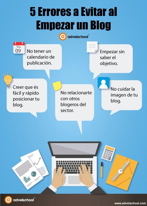 5 Errores a evitar al Empezar un Blog #infografia #infographic #socialmedia