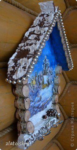 Декор предметов Поделка изделие Новый год Декупаж Коллаж Ключницы панно и колодец Материал природный фото 5