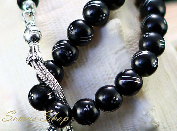 Islamische OLTU Tesbih GAGAT Gebetskette mit 925 er Silberkette