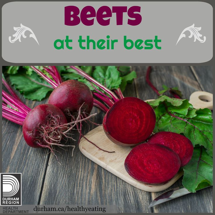 Beets are in season from July to December! When looking for beets, make sure they have no cracks or blemishes. The leaves should not be deep green or wilted. To prepare, wash and remove greens. Leave 5cm (2 inches) of stem and to keep the colour, don't slice or cut before cooking. Click for more information on how to cook them.