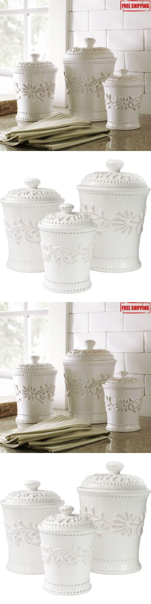 Canisters and Jars 20654: Canister Set Kitchen Storage 3 Piece Jars Sugar Coffee Flour Tea Ceramic Lids -> BUY IT NOW ONLY: $69.41 on eBay!