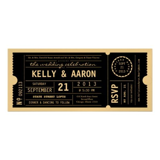 Vintage Playbill Theater Ticket Wedding Invitation. Gold & Black