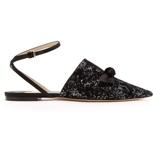 Jimmy Choo Temple glitter flat (31,770 DOP) ❤ liked on Polyvore featuring shoes, flats, glitter flats, black ankle strap flats, black evening shoes, black glitter shoes and black pointy toe flats