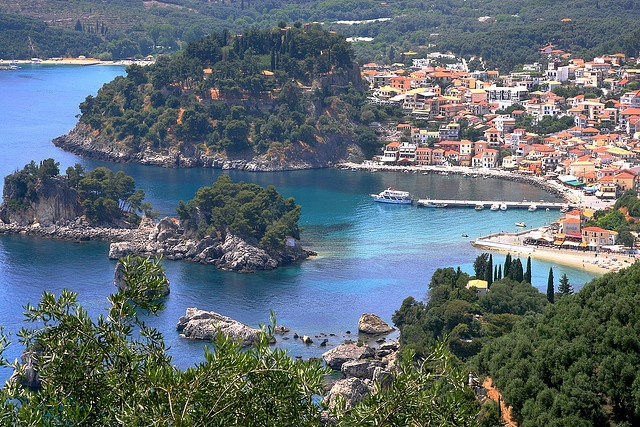 Mediterranean bay. Wooded islets and promontory. Parga Bay,  Epirus, Greece (By Marite2007)