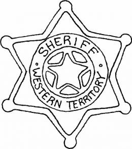 Sheriff's badge of Western North America - Western Cowboy Kids Coloring Pages and Free Colouring Pictures to Print
