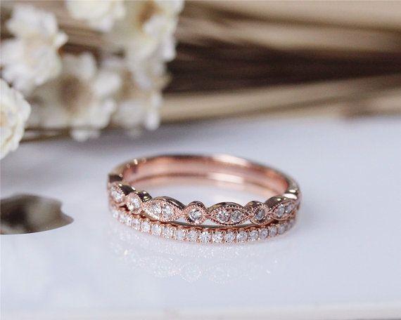 Diamond Band Set Wedding Ring Set Solid 14K Rose by JulianStudio