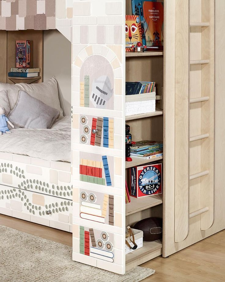 Peek-a-boo 🙈🐵 our pull out bookshelf keeping things tidy! - Young Empire - Smart Luxury Children's Furniture