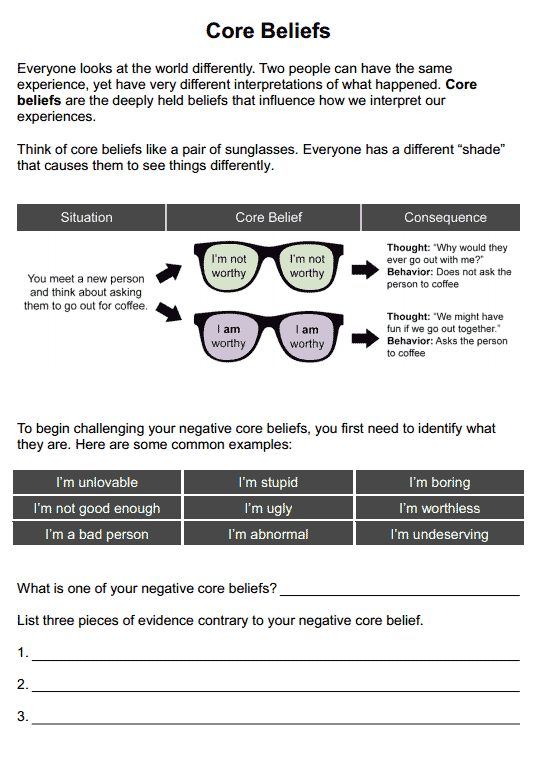 Core Beliefs Worksheet For Self Esteem Ot Pinterest
