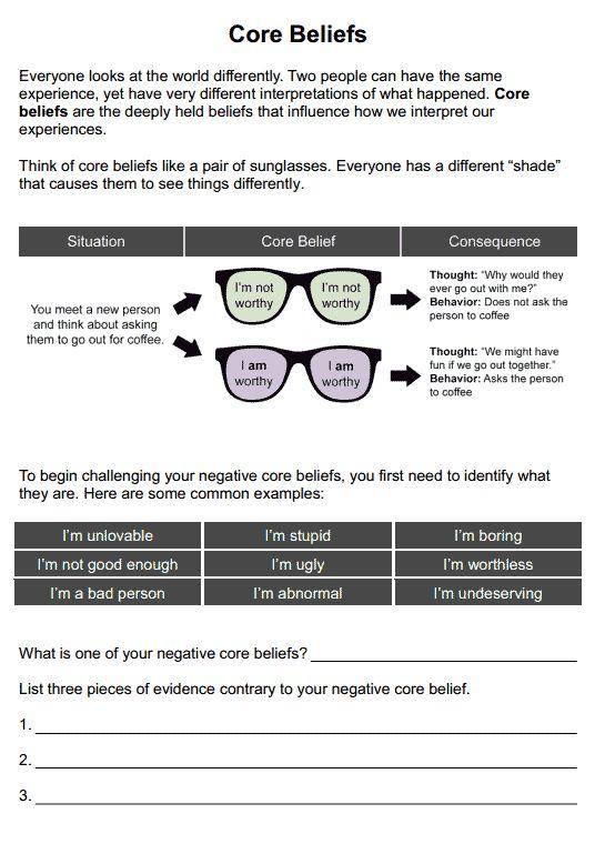 Core Beliefs worksheet for self-esteem