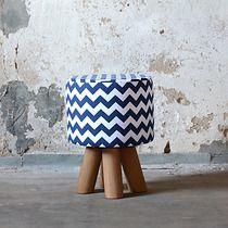 Stołek skandynawski chevron niebieski, meble - pufy, stołki, ławy