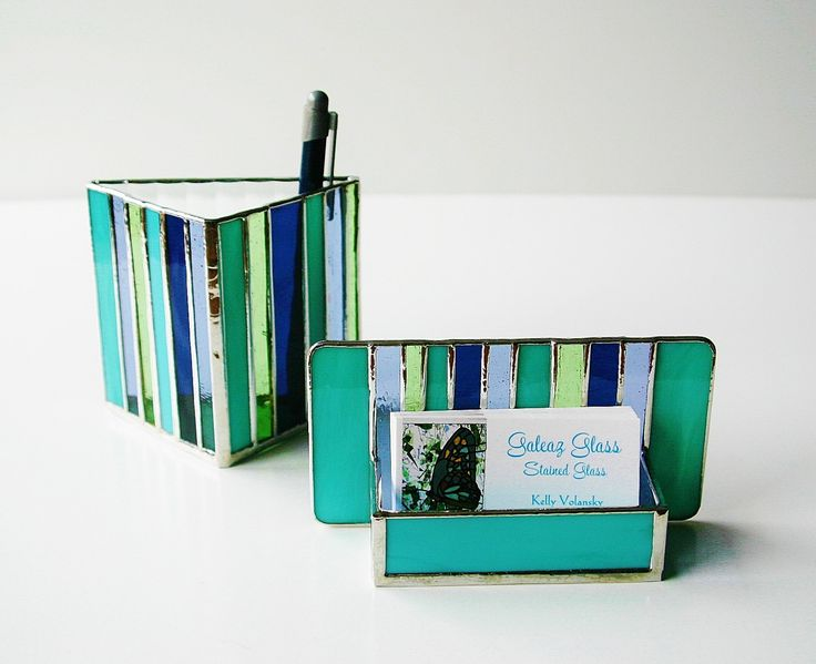 Stained Glass Business Card Holder Turquoise Indigo Blue Periwinkle Purple Peridot Green Art Glass Contemporary Desk Accessory Office OOAK. $38.00, via Etsy.