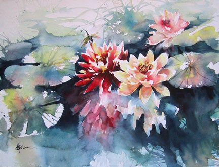 """Lian Quan Zhen -Water Lily - watercolor - 18""""x24"""""""