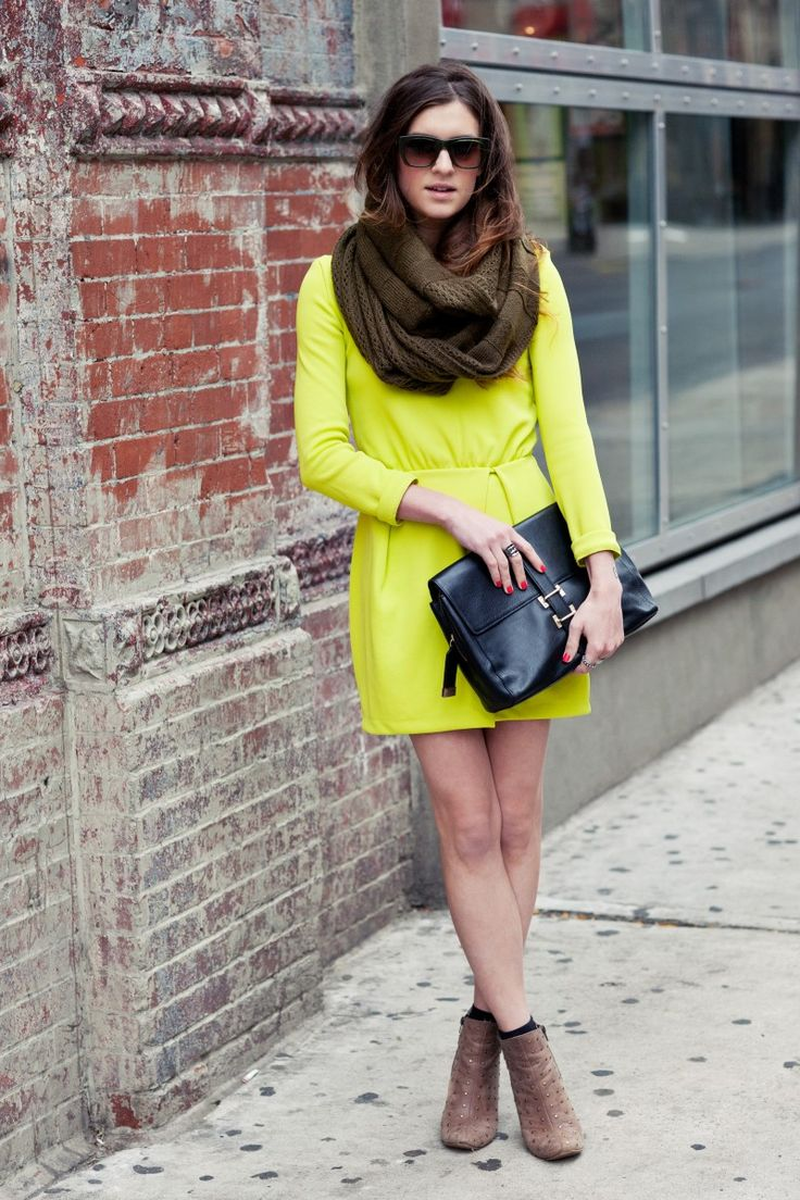 New York City Fashion and Personal Style Blog: Neon green dress, knit infinity scarf, basic black clutch, studded booties