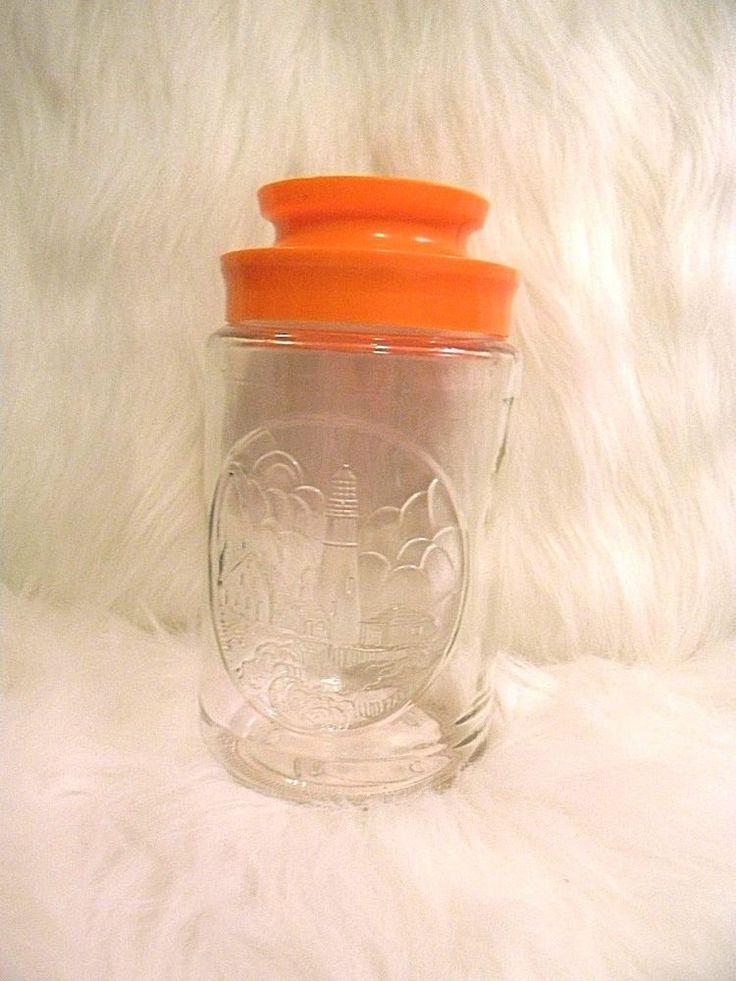 Vintage TANG Orange Drink Glass Jar w/Lid Lighthouse Retro Cottage Nautical