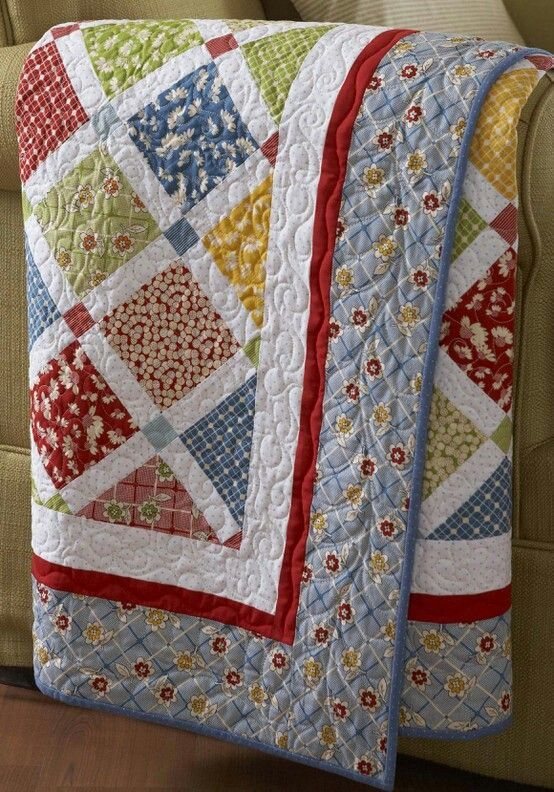 I love the colors in this quilt. I have seen it on Pinterest a couple of times and it makes me smile. I think of a room where I would smile all the time.