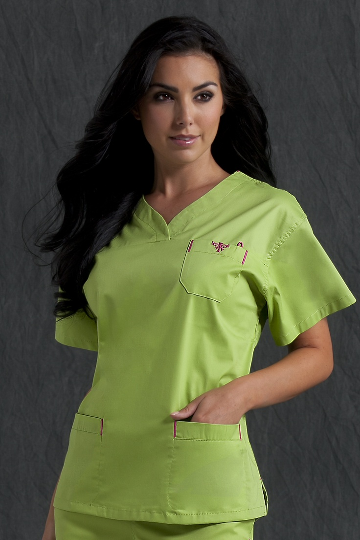 """8401 Sport Neckline Top - Peaches Uniforms from Scrub Couture Crossover v-neck top Chest velcro pocket with badge holder Welt pockets with invisible inside pockets Length: 26"""" XS - 3XL $24.00"""