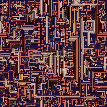 Seamless vector color texture electronic circuit board Stock Vector