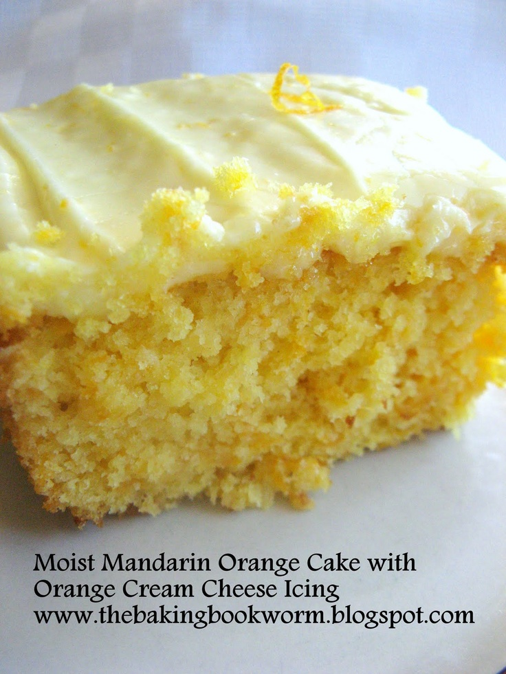 The Baking Bookworm: Moist Mandarin Orange Cake with Orange Cream Cheese Icing