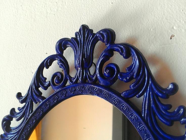 Fairy Princess Mirror Ornate Vintage Frame In Cobalt