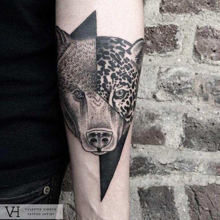 Avec sa sérieSymmetries, l'artiste tatoueur Valentin Hirschnous dévoile de jolies créations basées sur la dualité, combinant côte à côte des visages