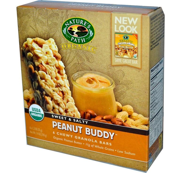Nature's Path, Organic Chewy Granola Bars, Peanut Buddy, 6 Bars, 1.2 oz (35 g) Each - iHerb.com