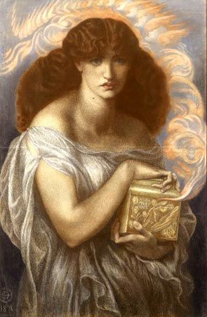 Dante Gabriel Rosetti's painting of Pandora and her box                                                                                                                                                      More