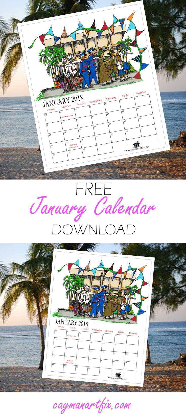 A January Calendar to enjoy! #HappyNewyear #calendar #january #2018 #printable #organiser #perfectforyourdesk #caymanartfix