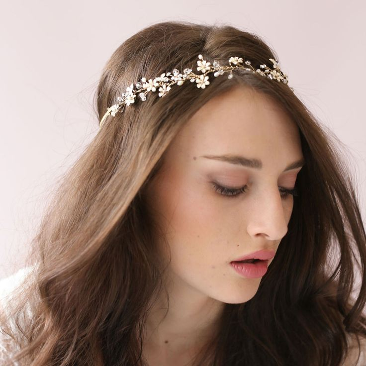Wedding Bride Crystal Rhinestone Pearl Ribbon Hairband Headband Hair Accessories