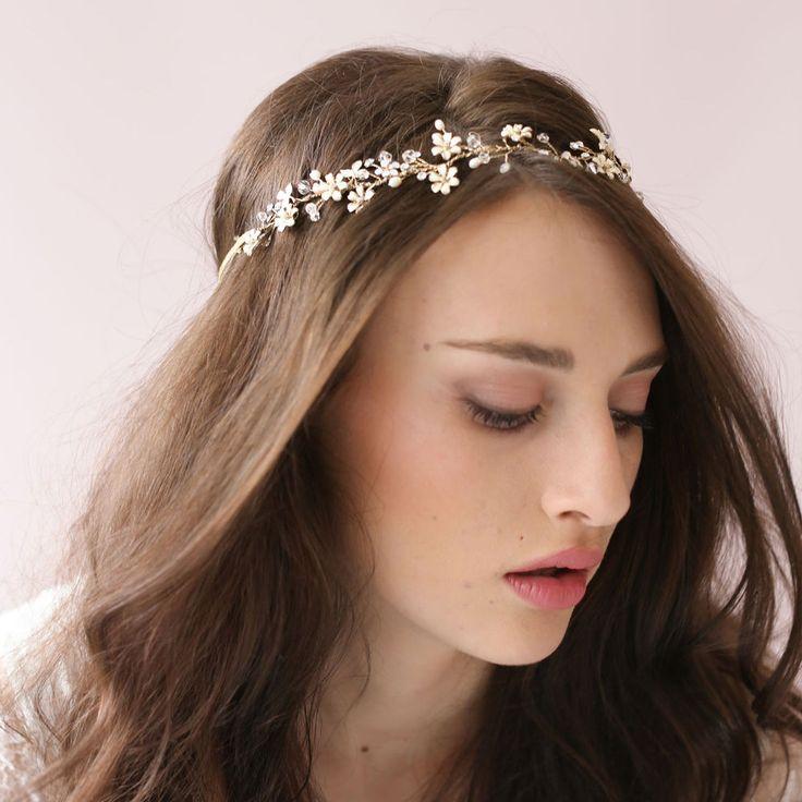 Wedding Bride Crystal Rhinestone Pearl Ribbon Hairband Headband Hair Accessories