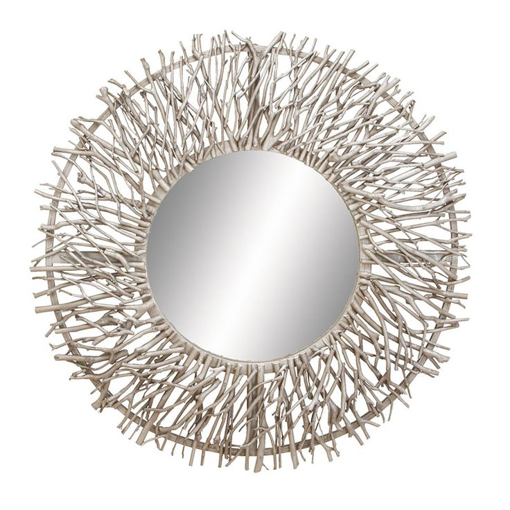 "Wooden Circular Wall Mirror with Silver Colored Twigs   31"" Diameter"