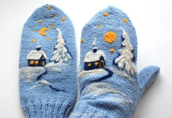 Blue Wool Mittens with Felted winter landscape by Indrasideas, $39.00