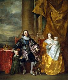 Charles I and his wife Henrietta Maria with their eldest children: Charles, Prince of Wales (Charles II) next to his father and James, Duke of York (James II) next to her mother, 1633.