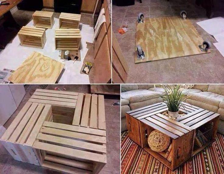 Faire une table basse avec des caisses de bois! Un tutoriel photo en 4 étapes faciles!Une table qui vous offrira en plus du rangement, je la trouve vraiment belle! VOUS AUREZ BESOIN DE: -4 caisses de bois -Une planche de contre-plaqué -De 4 roues -D