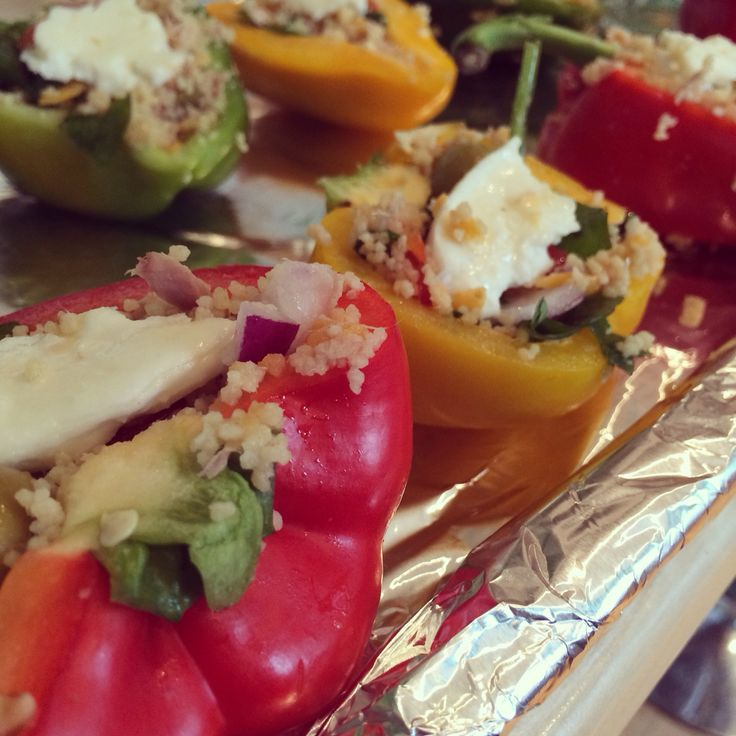 :My own Recipe:    Stuffed peppers! With cous cous/chopped red onion/halloumi cheese/basil/spinach/garlic/tuna & oilves ! Family fave