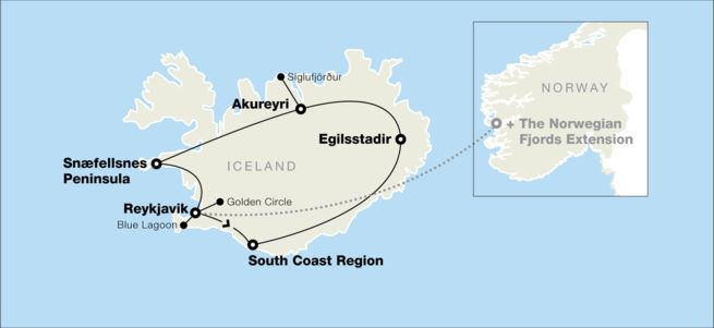 Map of tour of Iceland