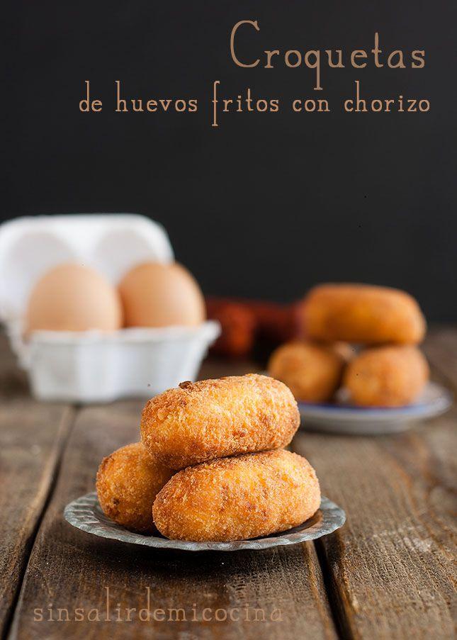 SIN SALIR DE MI COCINA: Croquetas de huevos fritos con chorizo para {Con un par}