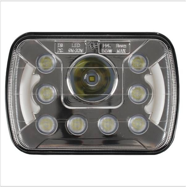 """Free shipping Pair 6"""" x 7"""" Headllamps 7inch 55W Hi/Lo Beam LED Headlights Insert with Halo Ring Angel Eyes For Truck"""