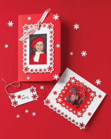 Punched-Snowflake Photo Cards and Gift Tags  Add wintry and whimsical embellishments to greeting cards by punching a delicate die-cut border of snowflakes all the way around the card.  How to Make Punched-Snowflake Photo Cards and Gift Tags