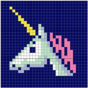 Unicorn Tile by Angela Davis, on Ravelry: This versatile graph can be used two ways – have the squares represent individual stitches for a small project, or make a solid granny square for each graph square for a bit blanket!