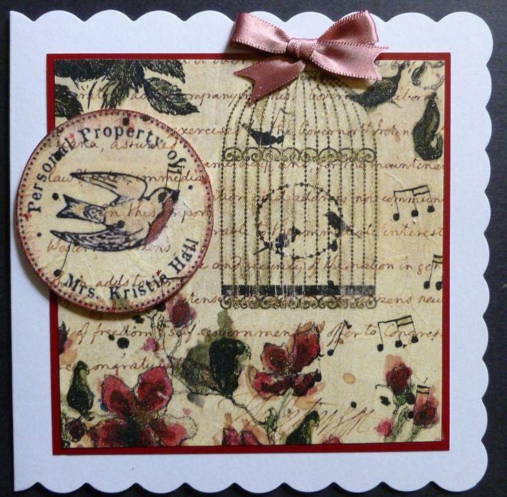 "'Birds in a Golden Cage' card. - Imagination Craft's - Rice paper No. 147.  Silver/gold, Misty Green & Red Starlight paints.  Decoupage glue.  Small stencil brush.  Pink satin ribbon.  6""x6"" scalloped white card.   June 2017.  Designed by Jennifer Johnston."