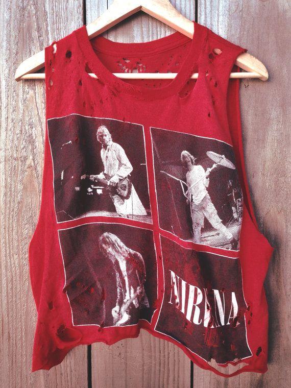 Custom Hand Distressed Rare Vintage Grunge Punk Alternative Band Nirvana Red Cropped Tank Tee Tshirt on Etsy, $55.00