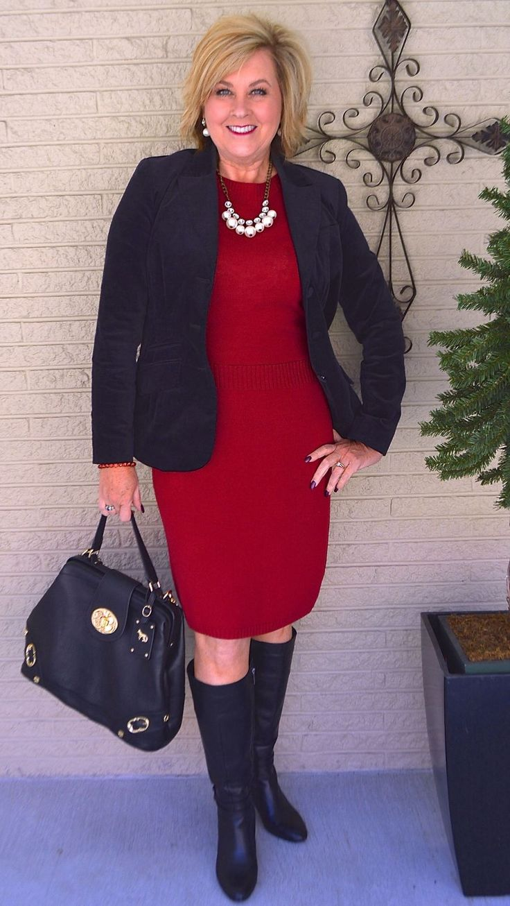 50 IS NOT OLD | LADY IN RED | Sweater Dress | Office Appropriate | Blazer | Velvet | Fashion over 40 for the everyday woman