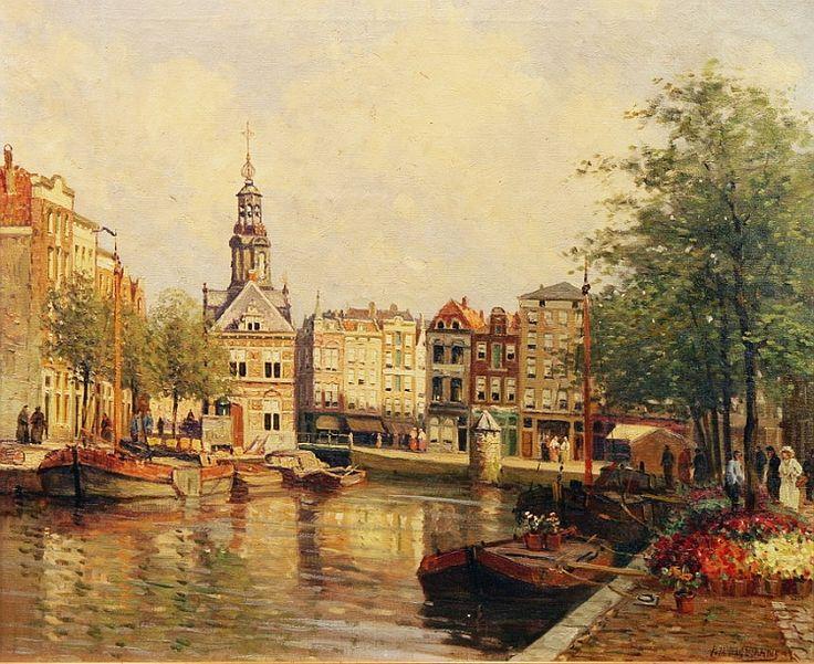 P.J.A.Wagemans (1879~1955), Bloemenmarkt aan het Singel, Amsterdam