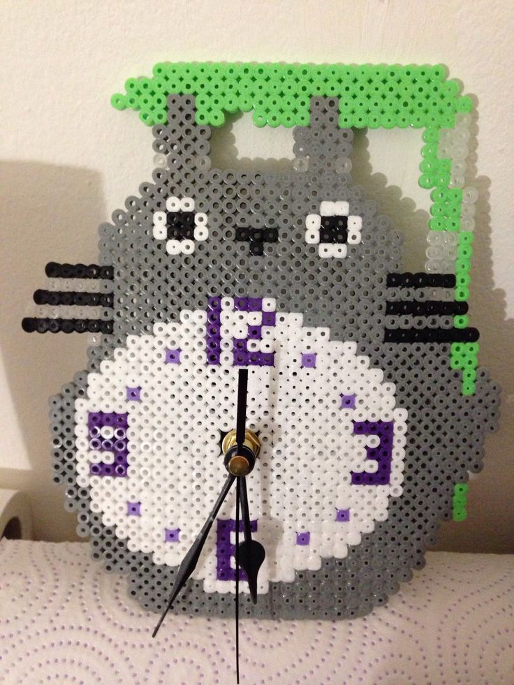 Totoro clock hama beads by Georgina Tudela Martinez