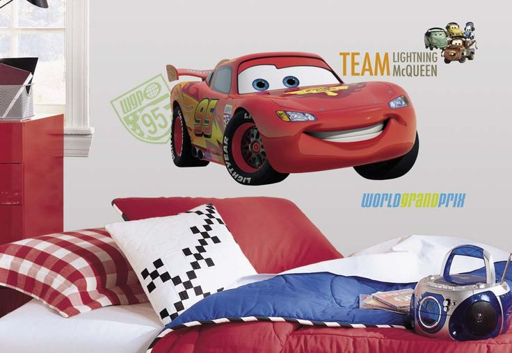 """Cars 2 Peel and Stick Giant Wall Applique / Decal Set: """"Bring the excitement of Cars 2 and the World Grand Prix into any room… #onlinesports"""